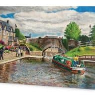 Greeting card with painting of Brecon canal.
