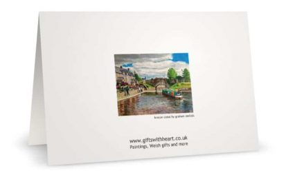 Greeting card with painting of Brecon canal rear.