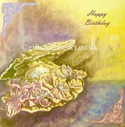 birthday card with a painting of flowers inside a large shell