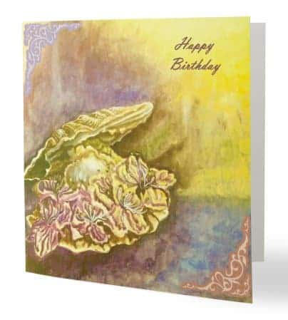 happy birthday card with flowers and pearl shell