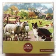 Coasters showing a farm scene with sheepdog and sheep