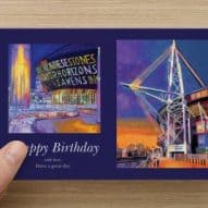 Welsh happy birthday card with the Principality stadium and the Millenium centre - front of card