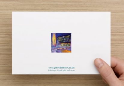 happy birthday card with principality stadium and millenium centre - back of card