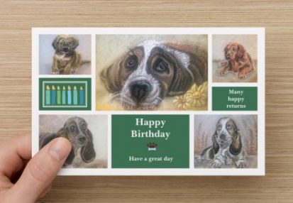 Happy birthday card front with a set of five different pictures of dogs