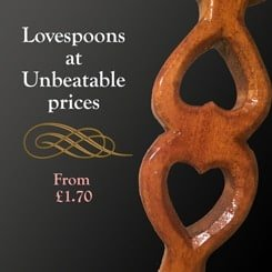 Lovespoon advert offering cheap lovespoons at unbeatable prices