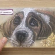 Sympathy card with 'my condolences' message with sad dog painting
