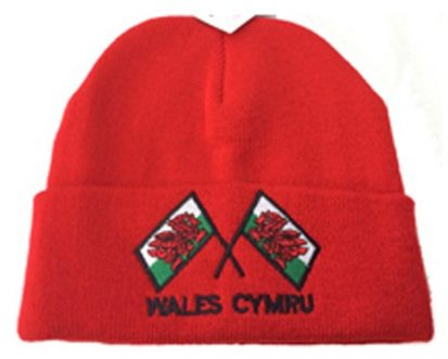 welsh beanie hat with welsh flags
