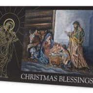 christmas card showing the nativity and an angel