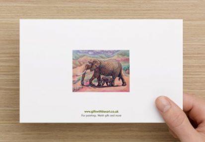 elephants greeting card rear