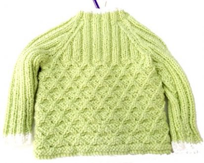 green and white knitted cardigan-back