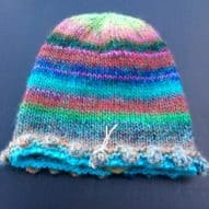 multi-coloured woollen hat