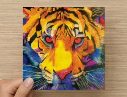 tiger painting greeting card