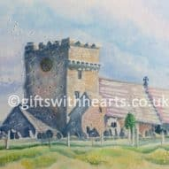 watercolour painting of Maudlam church in Kenfig Wales