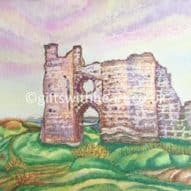 Pennard castle welsh landscape painting