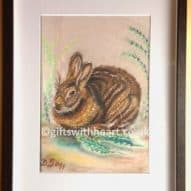 original hare pastel picture in frame