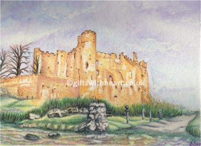 watercolour painting of Laugharne castle in Wales