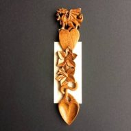 welsh lovespoons with dragon, heart and daffodils. Carved by Richard Downes in Olive Wood