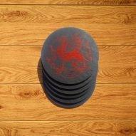 welsh slate gifts - 6 welsh slate coasters with dragon
