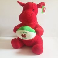 welsh dragon soft toy with rugby ball. welsh toys. welsh rugby gifts