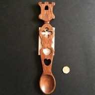 welsh love spoon with a castle