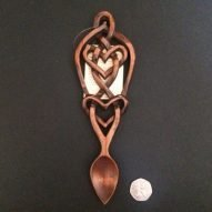 welsh love spoon with celtic hearts pattern