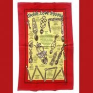 welsh love spoons tea towel
