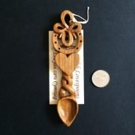 welsh love spoon with large heart and hoop and Celtic knot work