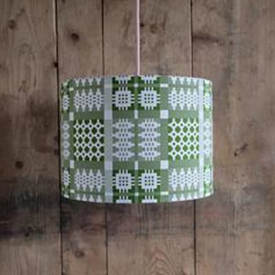welsh tapestry lamp shade in green. welsh gifts for her