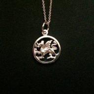Welsh dragon necklace. Welsh jewellery. Dragon pendant.