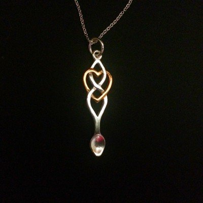 welsh love spoon pendant and chain. love spoon jewellery. Welsh jewellery. Sterling silver and rose gold. With box.