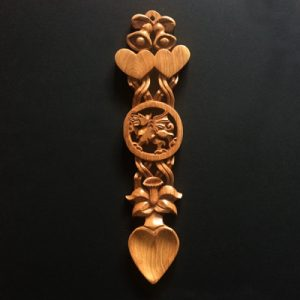 welsh love spoons large with bells, hearts, welsh dragon. Perfect for weddings, anniversaries. Beautiful love spoon.