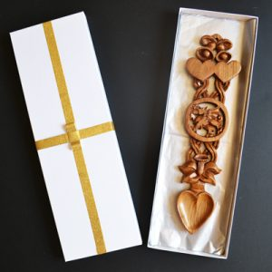 welsh love spoon wedding with bells, dragon, daffodil. welsh gifts. Love spoons gift box and engraving available.