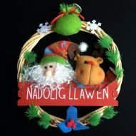 Welsh Christmas decoration wreath with Santa and Rudolph the reindeer