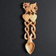 Welsh love spoons engraved with dragon and vines. Welsh gifts