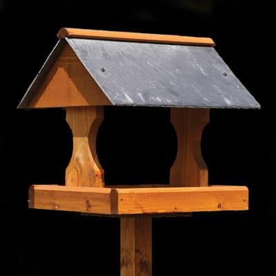 slate roofed bird table. Welsh slate gifts