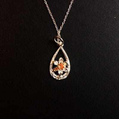 welsh jewellery daffodil necklace silver and gold plated.