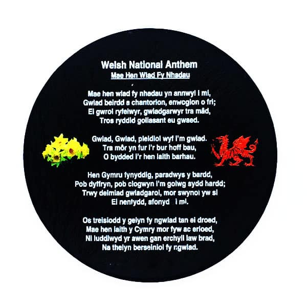 Welsh national anthem slate coaster