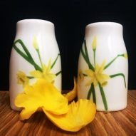 Welsh Daffodils salt and pepper set. Welsh gifts for her. Welsh tableware