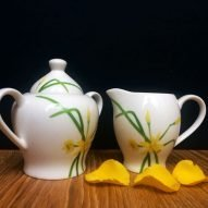 welsh daffodils milk jug and sugar set. Welsh gifts for her.