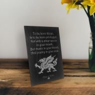 Welsh slate plaque with inspiration quote