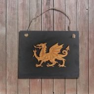 welsh dragon slate wall plaque