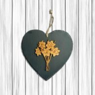 Welsh slate heart plaque with wooden daffodils