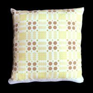Welsh tapestry pattern cushion. Yellow and light brown.