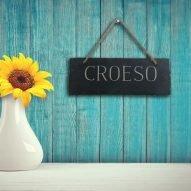Welsh slate croeso sign