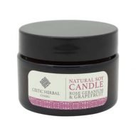 Rose Geranium and grapefruit soy travel candle. Handmade in Wales