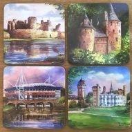Set of 4 Welsh coasters