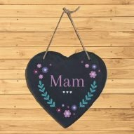 Mam slate gift hanging heart plaque Wales