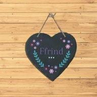 ffrind slate heart plaque Wales