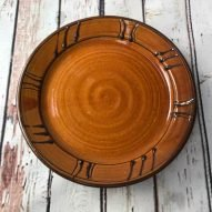 honey brown welsh pottery earthenware dinner plate