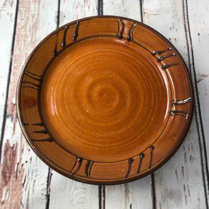 honey brown welsh pottery earthenware dinner plate